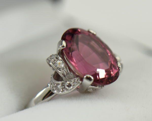 Mid Century Rosy Pink Tourmaline Cocktail Ring 2.JPG