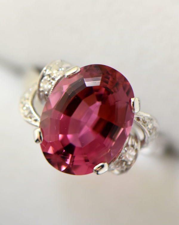 Mid Century Rosy Pink Tourmaline Cocktail Ring 4.JPG
