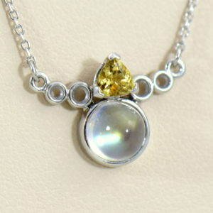 Moonstone Yellow Garnet Necklace in White Gold 2.JPG