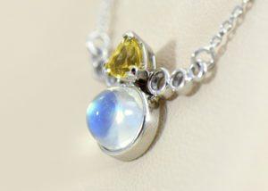 Moonstone Yellow Garnet Necklace in White Gold 3.JPG