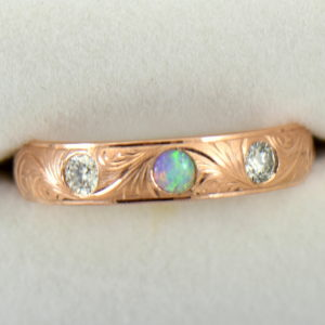 Opal DIamond Wedding Band in Carved Rose Gold 3.JPG