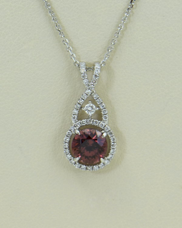 African Pink Rose Zircon Diamond Halo Pendant White Gold.JPG