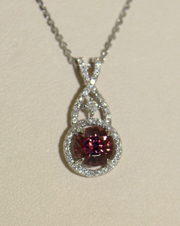 African Pink Rose Zircon Diamond Halo Pendant White Gold 3.JPG