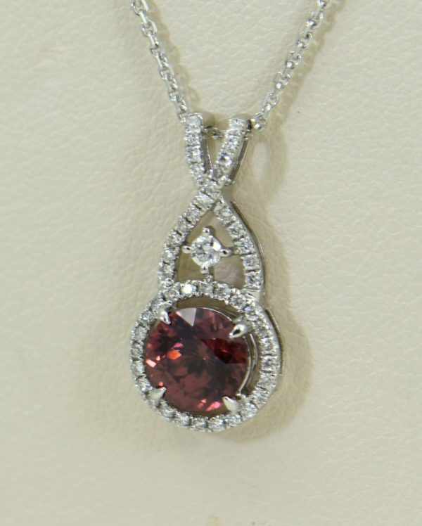 African Pink Rose Zircon Diamond Halo Pendant White Gold 4.JPG