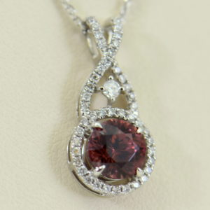 African Pink Rose Zircon Diamond Halo Pendant White Gold 5.JPG