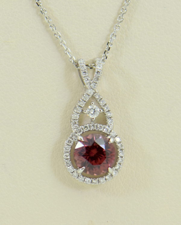 African Pink Rose Zircon Diamond Halo Pendant White Gold 6.JPG