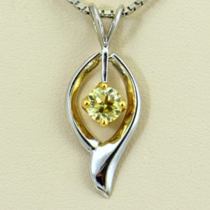 Barb s Mid Century .80ct Canary Yellow Diamond Pendant in Twotone Gold 3.JPG