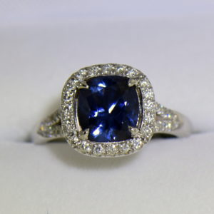 Burmese blue grey spinel in cushion halo engagement ring.JPG