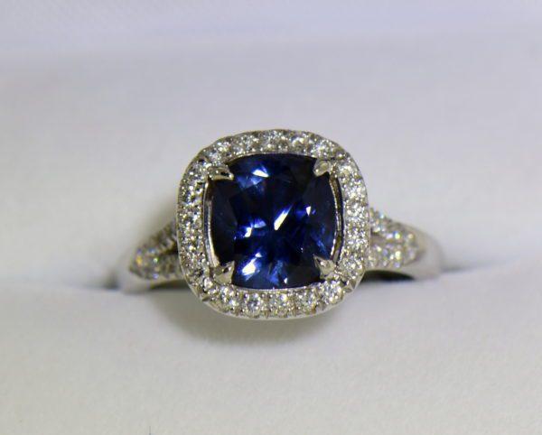 Burmese blue grey spinel in cushion halo engagement ring.JPG