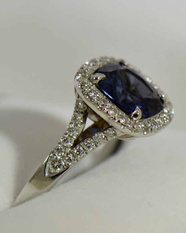 Burmese blue grey spinel in cushion halo engagement ring 3.JPG