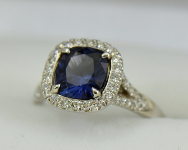 Burmese blue grey spinel in cushion halo engagement ring 4.JPG