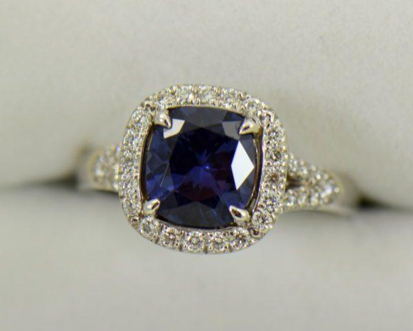 Burmese blue grey spinel in cushion halo engagement ring 5.JPG