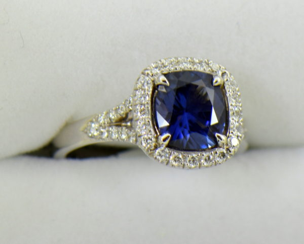 Burmese blue grey spinel in cushion halo engagement ring 6.JPG