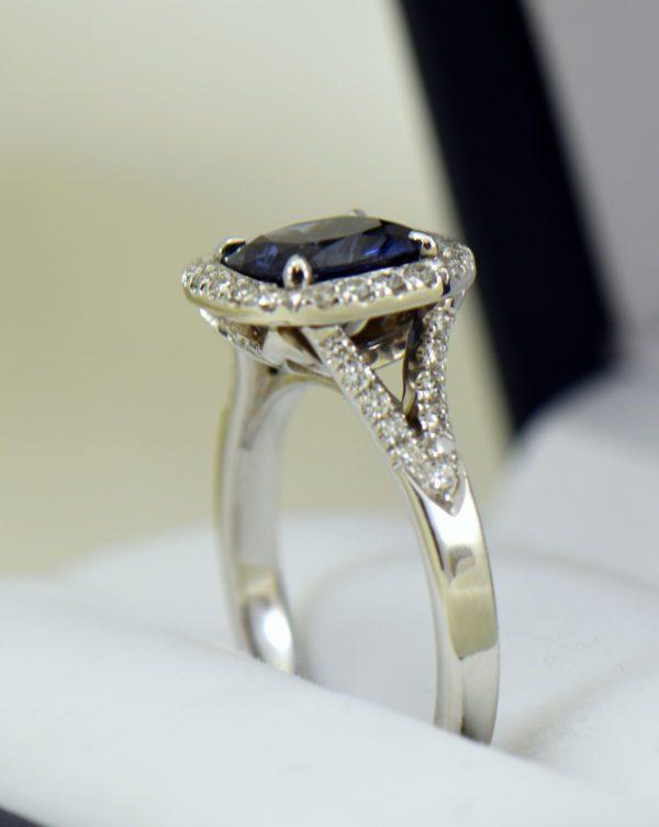 Burmese blue grey spinel in cushion halo engagement ring 8.JPG