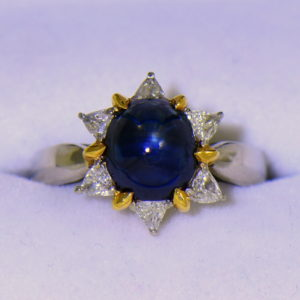 Cabochon Sapphire Trillion Diamond Flower Ring in Platinum 18ky 3.JPG