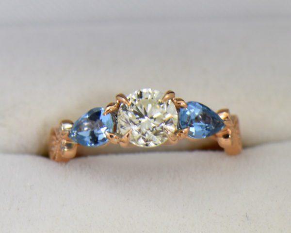 Custom Rose Gold Engagement Ring with Diamond Pear Aquamarines.JPG