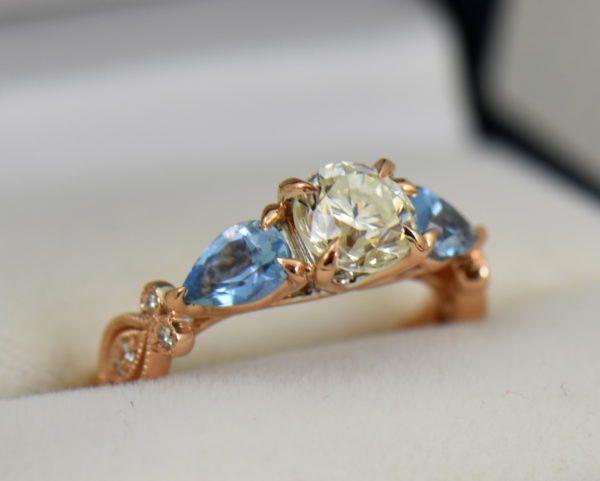 Custom Rose Gold Engagement Ring with Diamond Pear Aquamarines 2.JPG