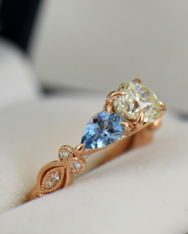 Custom Rose Gold Engagement Ring with Diamond Pear Aquamarines 3.JPG