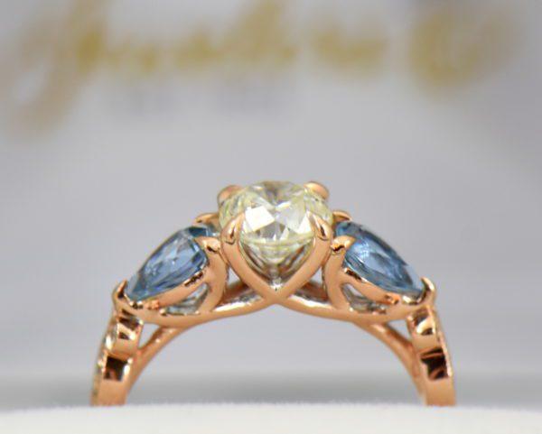 Custom Rose Gold Engagement Ring with Diamond Pear Aquamarines 4.JPG