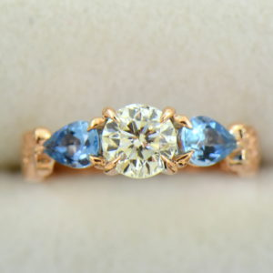 Custom Rose Gold Engagement Ring with Diamond Pear Aquamarines 5.JPG