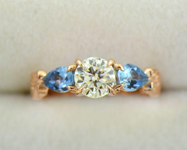 Custom Rose Gold Engagement Ring with Diamond Pear Aquamarines 5.JPG
