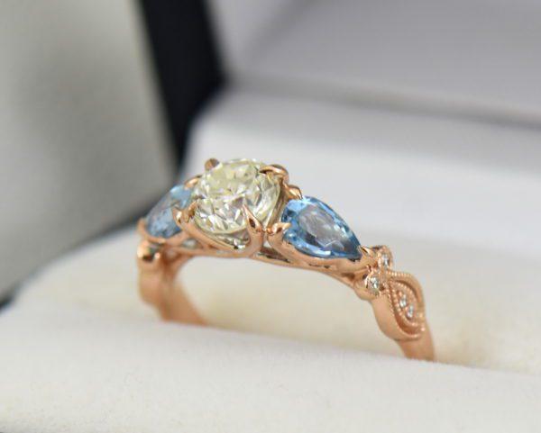 Custom Rose Gold Engagement Ring with Diamond Pear Aquamarines 6.JPG