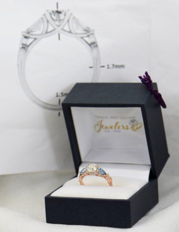 Custom Rose Gold Engagement Ring with Diamond Pear Aquamarines 8.JPG