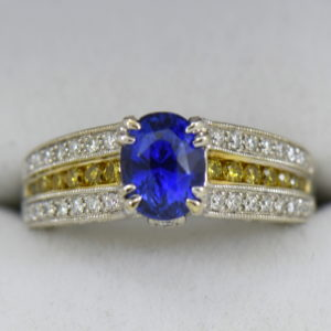 Custom White Gold Ring with Ceylon Blue Violet Sapphire Yellow Diamonds 2.JPG