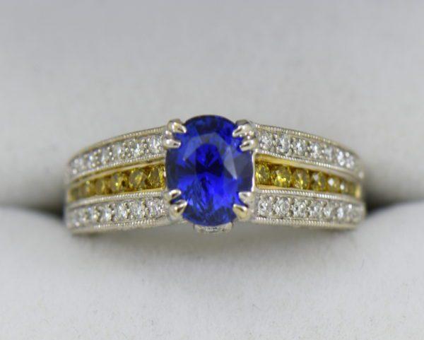Custom White Gold Ring with Ceylon Blue Violet Sapphire Yellow Diamonds 2.JPG