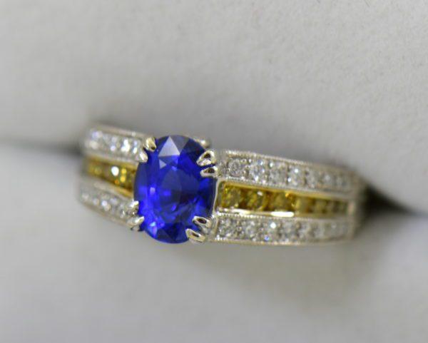 Custom White Gold Ring with Ceylon Blue Violet Sapphire Yellow Diamonds 4.JPG