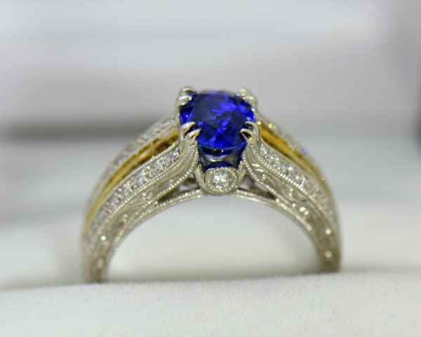 Custom White Gold Ring with Ceylon Blue Violet Sapphire Yellow Diamonds 5.JPG