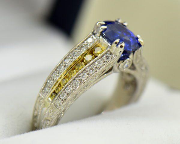 Custom White Gold Ring with Ceylon Blue Violet Sapphire Yellow Diamonds 6.JPG