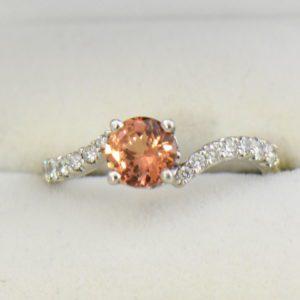 Diane s Apricot Peach Natural Sapphire Diamond Swirl Ring.JPG