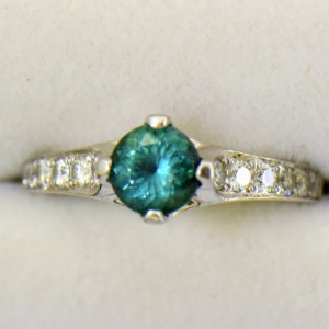 Diane s Edwardian Round Teal Tourmaline Diamond Solitaire Engagement Ring 2.JPG