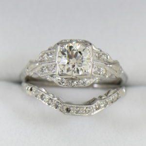 G Art Deco Engagement Ring with Custom Diamond Shadow Wedding Band.JPG