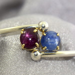 Kendra s 2 stone Silver Cuff Bracelet with Star Ruby Cat s Eye Kyanite 2.JPG