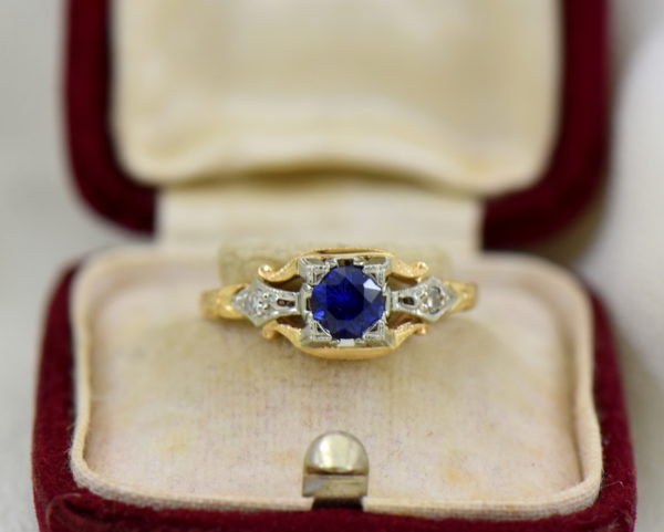 Late Deco Yellow Gold Blue Sapphire Engagement Ring Flower of Love.JPG