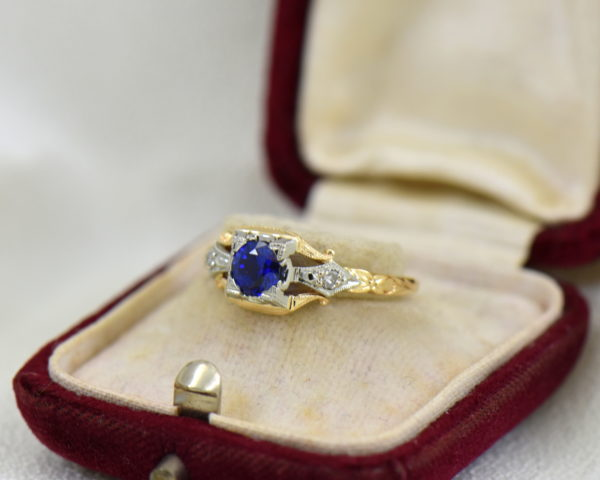 Late Deco Yellow Gold Blue Sapphire Engagement Ring Flower of Love 2.JPG