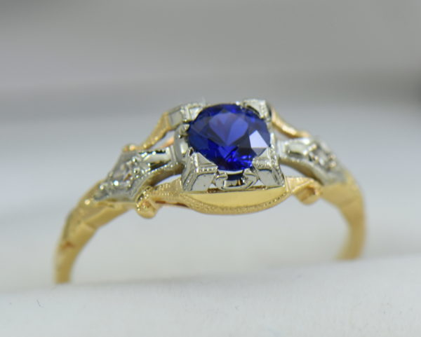 Late Deco Yellow Gold Blue Sapphire Engagement Ring Flower of Love 4.JPG