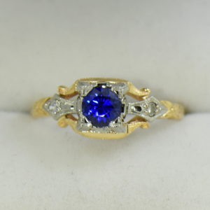 Late Deco Yellow Gold Blue Sapphire Engagement Ring Flower of Love 7.JPG