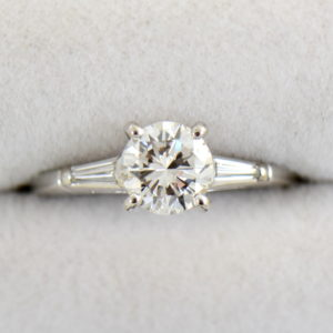 Mid Century Platinum 1ct Diamond Ring with Baguette accents.JPG
