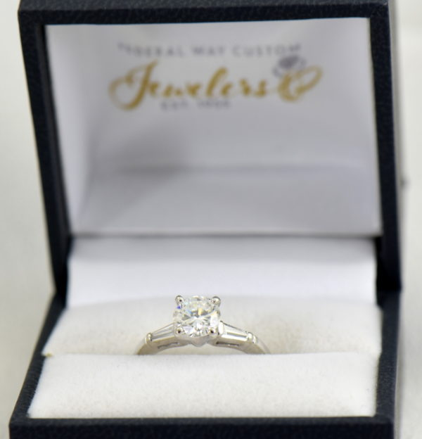 Mid Century Platinum 1ct Diamond Ring with Baguette accents 4.JPG