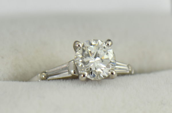 Mid Century Platinum 1ct Diamond Ring with Baguette accents 5.JPG