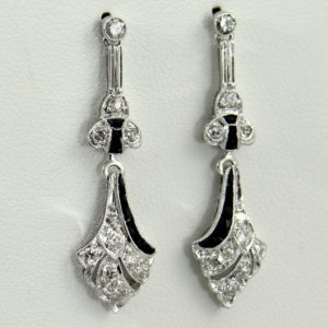 Original Art Deco Platinum Diamond Calibre Onyx Flapper Earrings.JPG