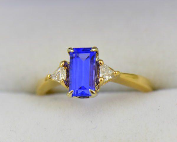 Petite Emerald Cut Tanzanite Trillion Diamond Yellow Gold Ring.JPG