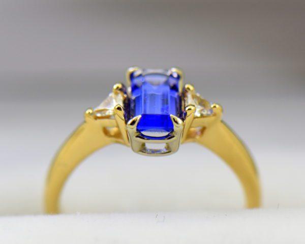 Petite Emerald Cut Tanzanite Trillion Diamond Yellow Gold Ring 2.JPG