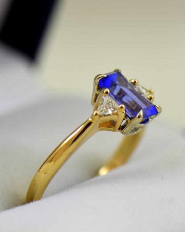 Petite Emerald Cut Tanzanite Trillion Diamond Yellow Gold Ring 3.JPG
