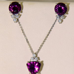 Raspberry Red Rhodolite Pendant Earring Set 2.JPG