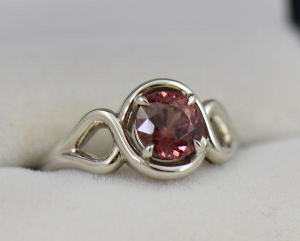 Swirly White Gold Ring with Round Tanzanian Purplish Pink Zircon 4.JPG