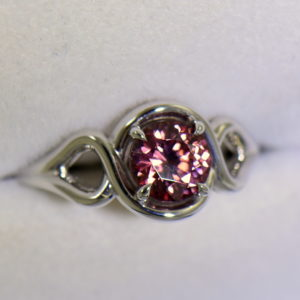 Swirly White Gold Ring with Round Tanzanian Purplish Pink Zircon 5.JPG